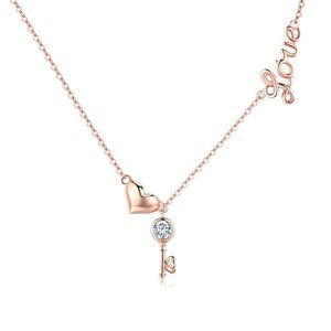 925 Sterling Silver Rose Gold Plated Lock Chain